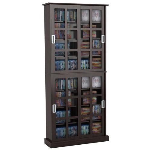 Atlantic - Windowpane 720 Media Cabinet with Sliding Glass Doors - Espresso