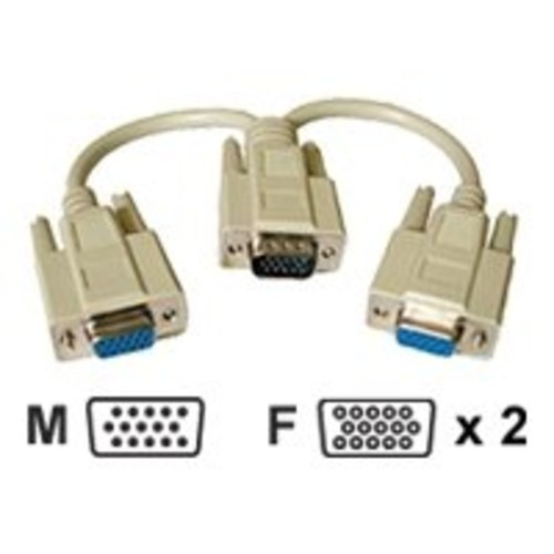 Cables To Go Video Y Splitter - Display splitter - HD-15 (M) - HD-15 (F) - 8 in - beige 8IN Y CABLE VGA SPLITTER DB15 M/