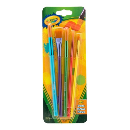 Crayola? Arts & Crafts Brushes, Assorted Sizes & Shapes, Synthetic, Assorted Colors, Pack Of 5