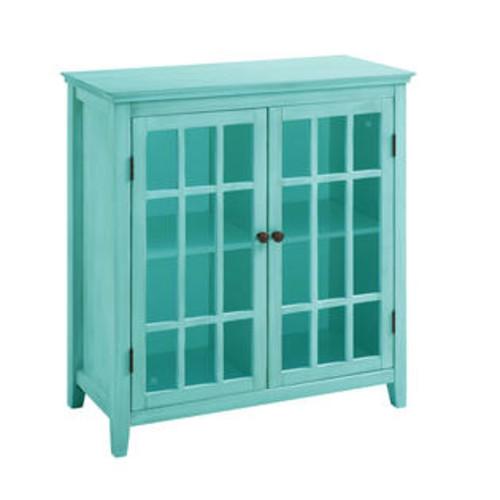Linon Largo Antique Turquoise Double Door Cabinet
