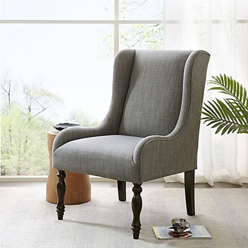 Madison Park Klaus Turned Leg Wing Chair in Slate