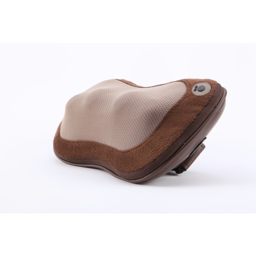 iLiving Rechargeable Neck and Back Kneading Shiatsu Massage Pillow with Heat Therapy, Brown