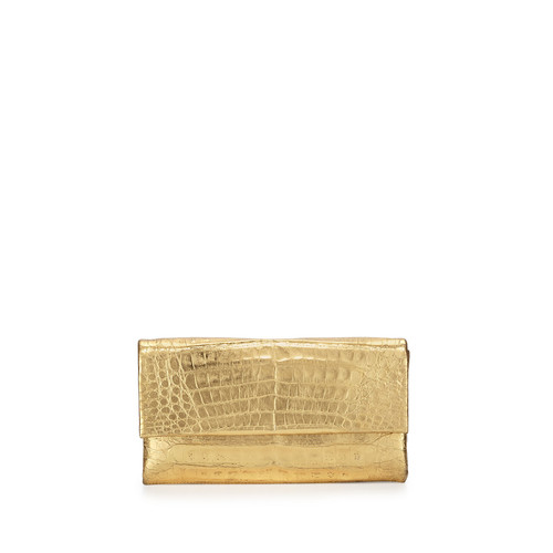 NANCY GONZALEZ Crocodile Knot Clutch Bag, Gold Mirror