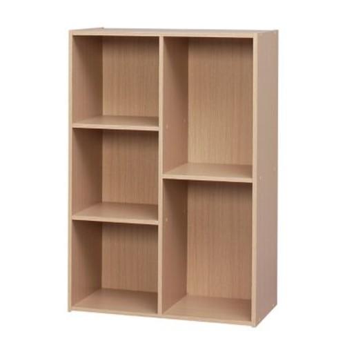 IRIS 5 Compartment Wood Organizer Bookcase Storage Shelf, Light Brown