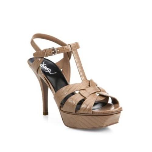 SAINT LAURENT Tribute Lizard-Embossed Leather Platform Sandals