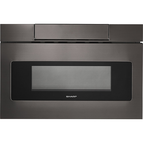 Sharp - 1.2 Cu. Ft. Mid-Size Microwave - Black stainless steel