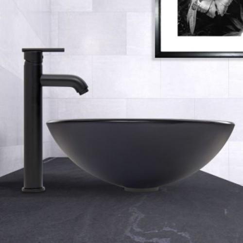 VIGO Glass Vessel Sink in Sheer Black Frost and Seville Faucet Set in Matte Black