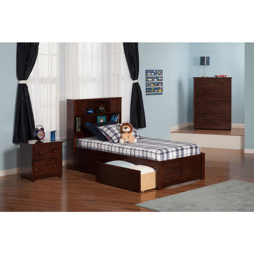 Atlantic Newport Walnut Twin-size Flat-panel Footboard Bed With 2 Urban Bed Drawers