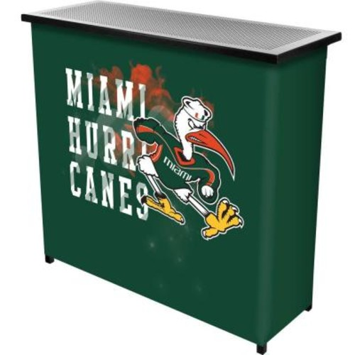 Trademark Global University of Miami Smoke 2-Shelf Green Bar with Case