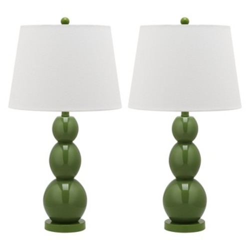 Jayne Three Sphere Glass 1-light Green Table Lamps (Set of 2)