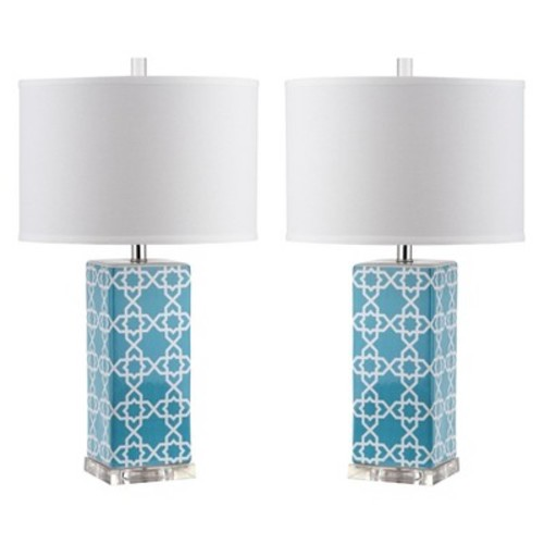 Safavieh Quatrefoil Table Lamp - Lite Blue (Set of 2)