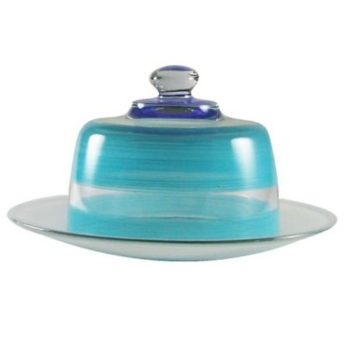 Golden Hill Studio Retro Stripe Cheese Cake Stand; Turquoise