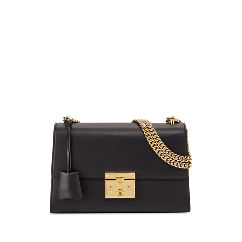 GUCCI Padlock Leather Shoulder Bag, Black