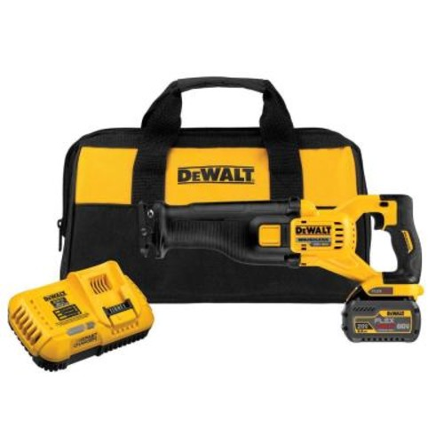 DEWALT FLEXVOLT 60-Volt MAX Lithium-Ion Cordless Brushless Reciprocating Saw with Battery 6Ah, Charger and Contractor Bag