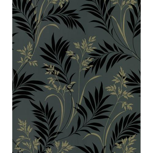 Sample Bali Hai Foliage Wallpaper in Black by Brewster Home Fashions