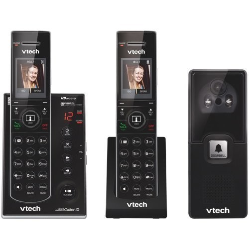VTech - IS7121-2 DECT 6.0 Cordless Phone System with Audio/Video Doorbell, 2 Handsets - Black