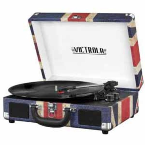 Victrola Suitcase Record Player with Bluetooth and 3 Speed Turntable, UK Flag