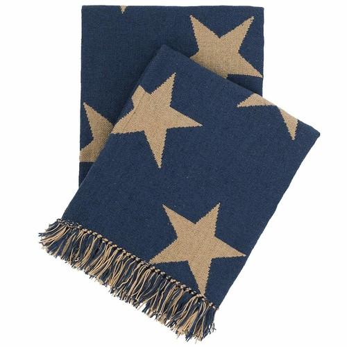 Star Navy\/Camel Indoor\/Outdoor Throw design by Fresh American - 50\