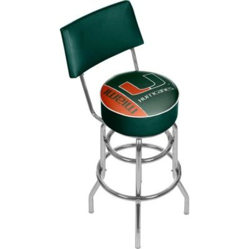 Trademark Global University of Miami Text 31 in. Chrome Padded Bar Stool