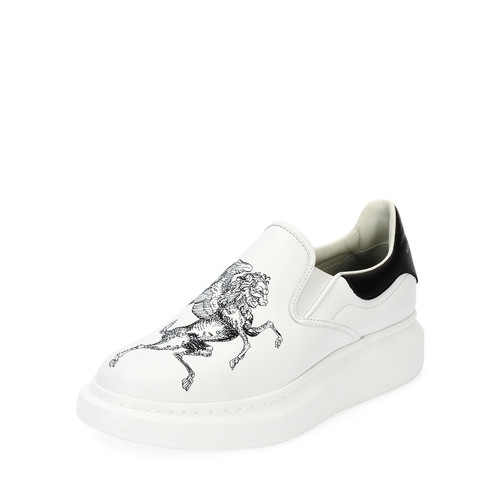 Etched Griffin & Unicorn Leather Slip-On Platform Sneaker, White/Black