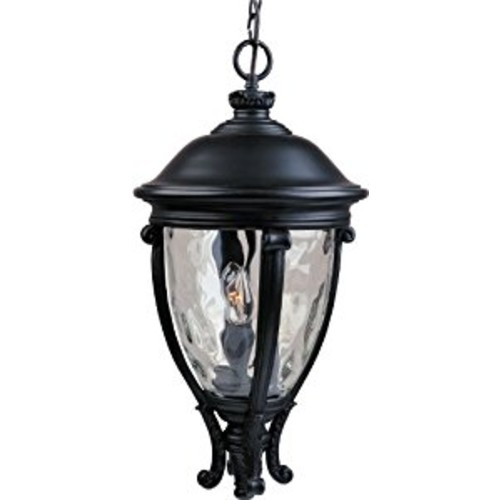 Maxim 41429WGBK Camden VX 3-Light Outdoor Hanging Lantern, Black Finish, Water Glass Glass, CA Incandescent Incandescent Bulb , 60W Max., Dry Safety Rating, Standard Dimmable, Fabric Shade Material, 6048 Rated Lumens [Black]