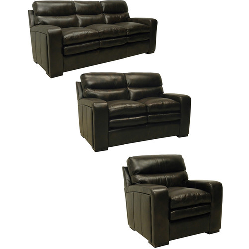 Mercer Dark Brown Italian Leather Sofa, Loveseat and Chair