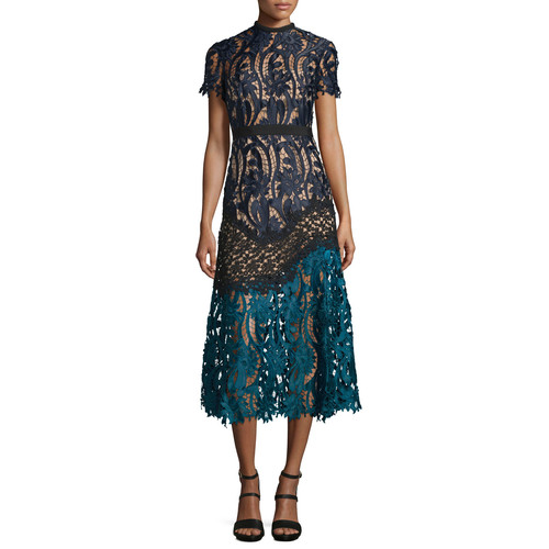 SELF PORTRAIT Floral-Lace Prairie Midi Dress