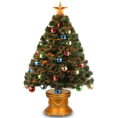 National Tree Company 3 ft. Fiber Optic Fireworks Artificial Christmas Tree with Ball Ornaments