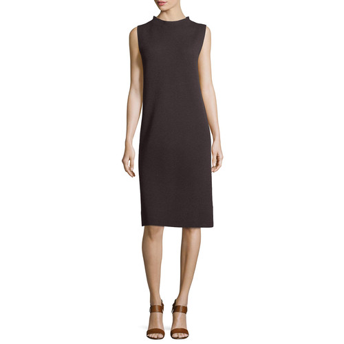 EILEEN FISHER Sleeveless Funnel-Neck Wool Sheath Dress