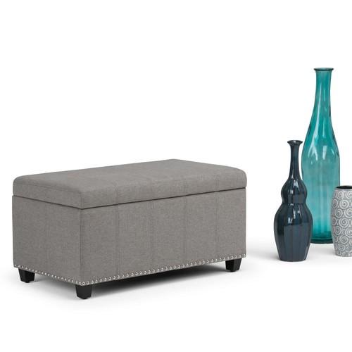 Simpli Home Amelia Dove Grey Linen Look Fabric Storage Ottoman