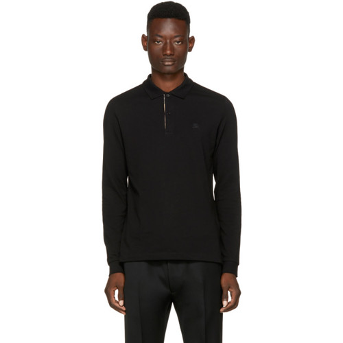 BURBERRY Black Long Sleeve Abown Polo