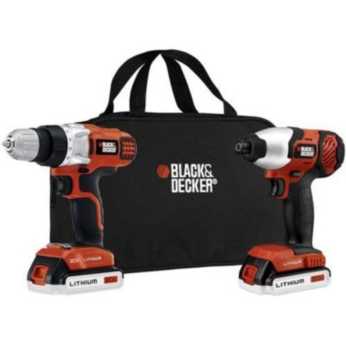 BLACK+DECKER 20-Volt MAX Lithium-Ion Cordless Drill/Driver and Impact Combo Kit (2-Tool) with (2) Batteries 1.5Ah, Charger and Bag