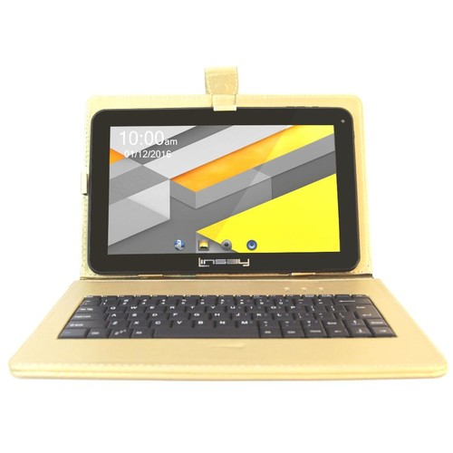 Linsay 10.1 inch New Quad Core 8GB Tablet Bundle with Golden Keyboard