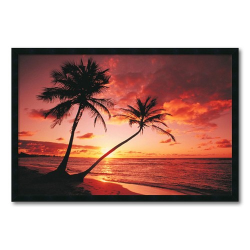 Tropical Beach - Sunset' Gel-Textured Art Print