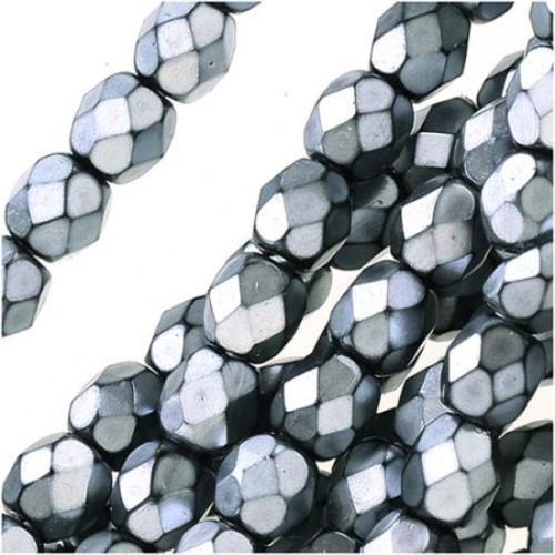 Czech Fire Polished Glass Beads 4mm Round Full Pearlized - Silver On Jet (50)