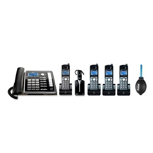 RCA 25270RE3 ViSYS 2-line Corded/Cordless Landline Telephone with Answering System and Headset Bundle with 3 RCA ViSYS DECT 6.0 Accessory Handset + Professional Dust Blower