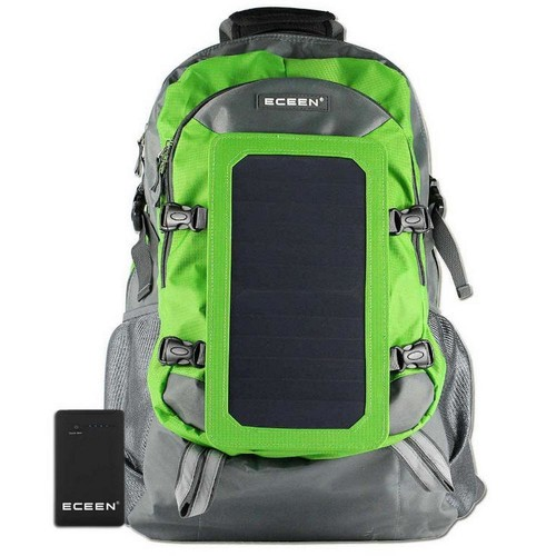 SolarGoPack Solar Backpack, 10k mAh battery, 7-Watt Solar Panel in Green