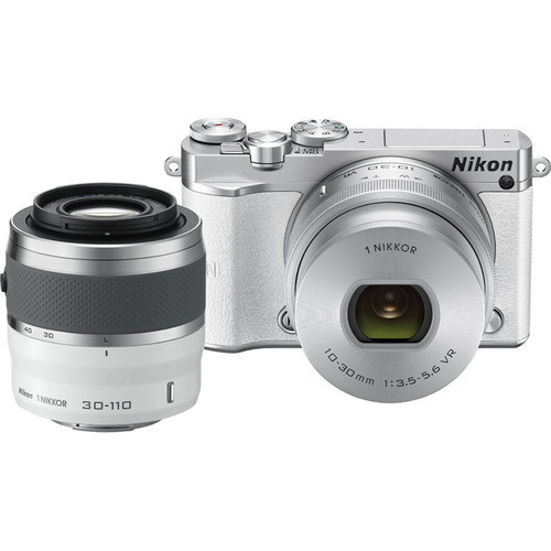 Nikon 1 J5 Mirrorless with 10-30mm and 30-110mm VR Lenses, White 27712