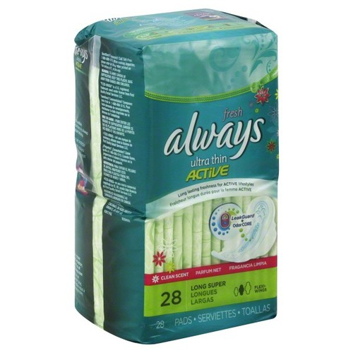 Always Active Pads, Ultra Thin, Long Super, 28 pads