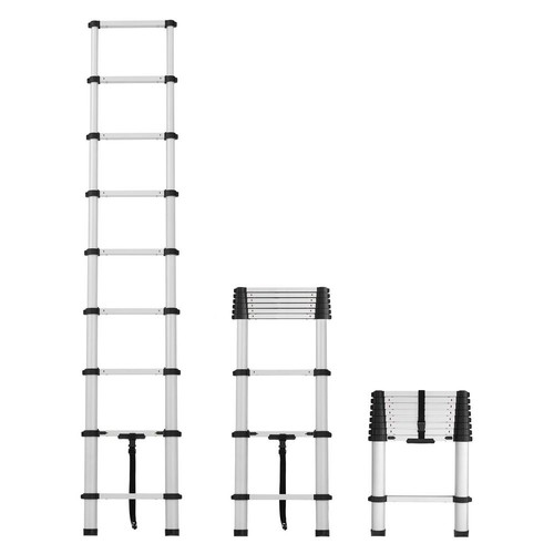 Cosco 12 ft. Telescopic Aluminum Pinch-Free Extension Ladder with 300 lb. Load Capacity Type IA Duty rating