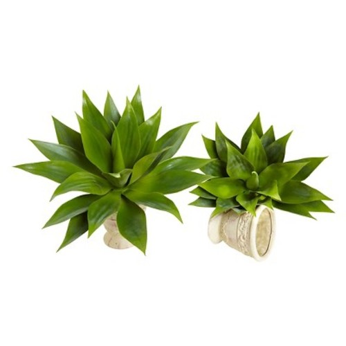 Nearly Natural 6109-S2 Agave Succulent Green Plant 17 x 15 inch