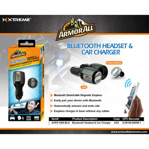 Armor All Bluetooth Black Headset and Car Charger