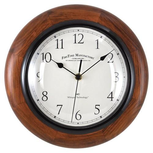FirsTime 11.5'' Walnut Round Wall Clock