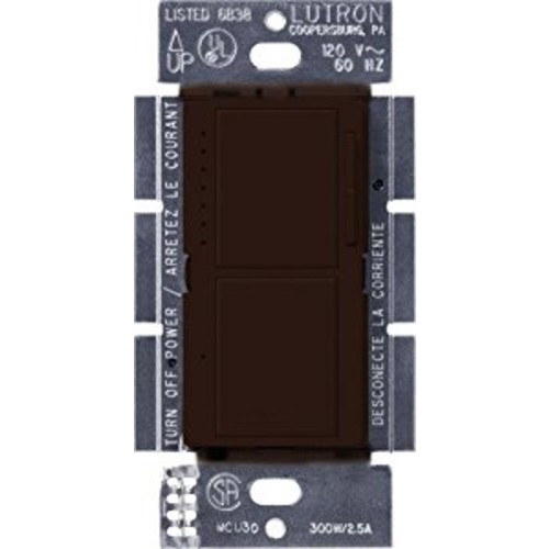 Lutron MA-L3S25-BR Maestro 300-Watt Single-Pole Digital Dimmer and 2.5 Amp On/Off Switch, Brown