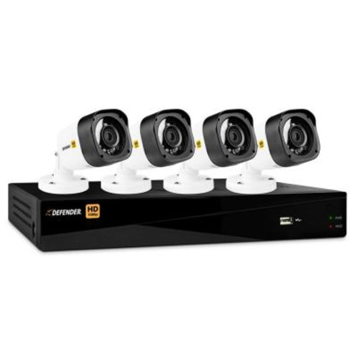 Defender 8-Channel HD 1080p 1TB DVR Security System and 4 Bullet Cameras with Mobile Viewing