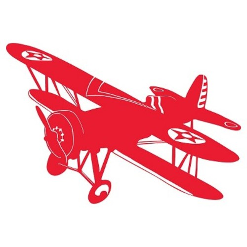 Biplane Wall Decal - Red