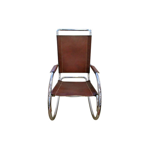 Chrome & Leather Rocking Chair