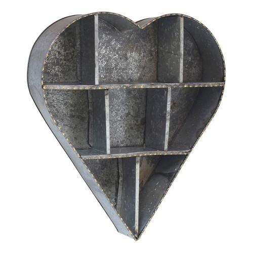 Stonebriar Collection Heart Shape Galvanized Metal Wall Shelf