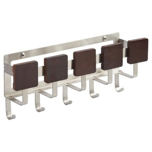 InterDesign Formbu Mail Holder and Key Rack Organizer  Wall Mounted Letter Shelf and Key Hooks for Entryway or Kitchen, Espresso [Mail Center]
