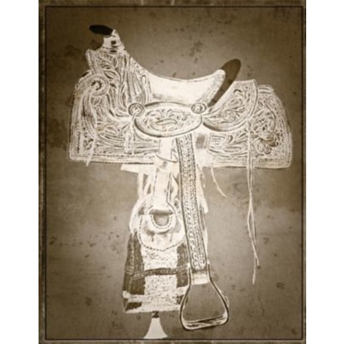 Graffitee Studios Western 'Saddle in Brown' Painting Print on Wrapped Canvas
